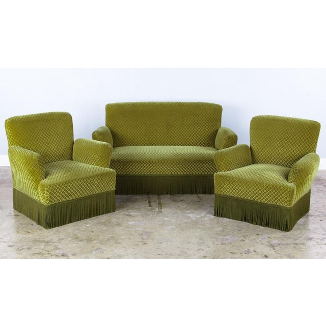 1940s French Green Upholstered Armchairs - A Pair - Image 10 of 10