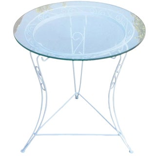 Scrolling Steel Patio Side Table with Glass Top, circa 1950