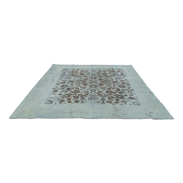 """Overdyed Distressed Persian Rug - 9' X 10'4"""" - Image 1 of 10"""
