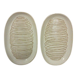 Martz Oval Ceramic Plates - A Pair