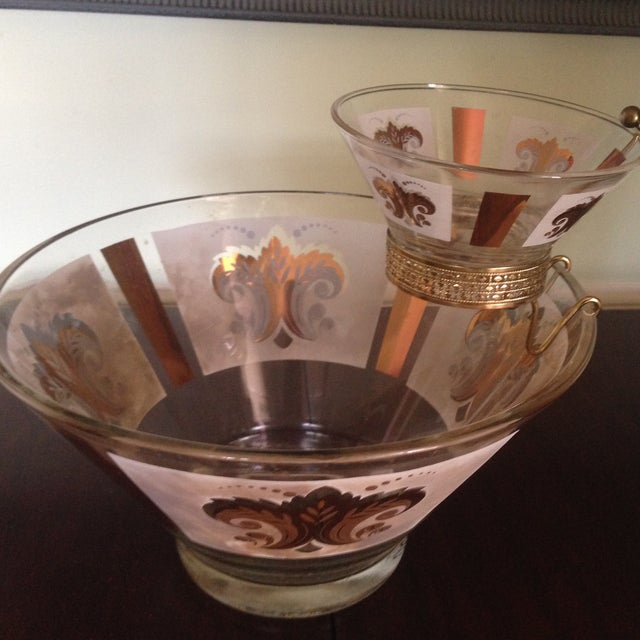 Mid-Century Glass Ice Bucket with Condiment Bowl - Image 4 of 11