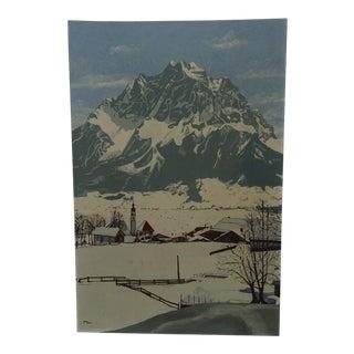 "Circa 1960 ""The Village Under the Mountain"" Original Painting"