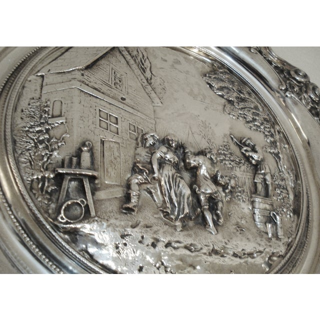 Large French Silver Wall Plate - Villager Feast - Image 3 of 8