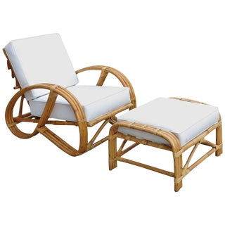 Rare Rebuilt Rattan Reclining Lounge Chair with 3/4 Pretzel Arms and Ottoman