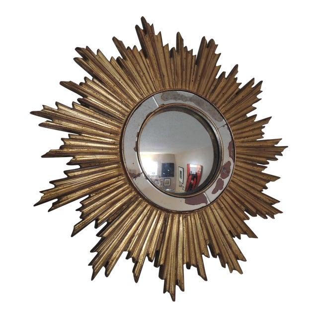 Vintage Gold Sunburst Wood Convex Mirror - Image 1 of 4