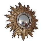 Image of Vintage Gold Sunburst Wood Convex Mirror