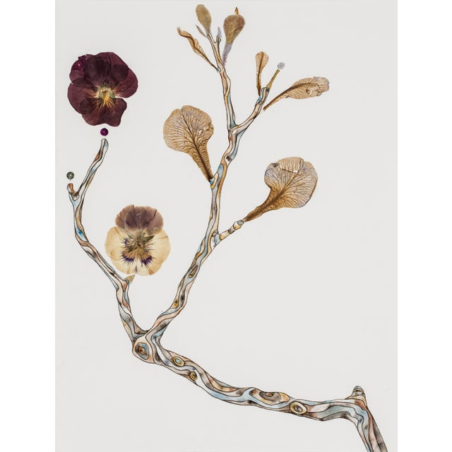 Soft Buds watercolor, pressed foliage, and mixed media on paper by Marilla Palmer - Image 2 of 2