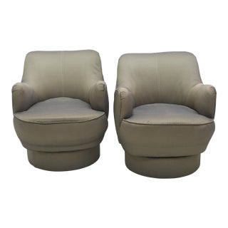 Early and Rare American Modern Pair of Barrel Swivel Chairs, Vladimir Kagan