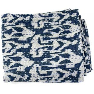 Blue Ikat Kantha Throw - A Full
