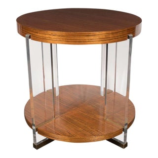 Vanguard Circular Table in Bookmatched Mozambique with Lucite Supports