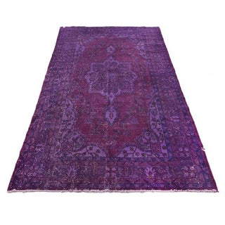 "Vintage Purple Overdyed Turkish Rug - 5'5"" x 9'"