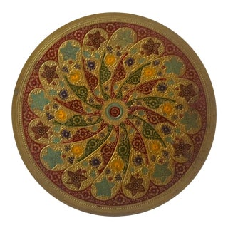 Vintage Moroccan Multicolored Enameled Brass Relief Plate