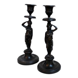 19th Century Caryatid Candlesticks - Pair