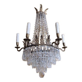Early 19th C English Crystal and Brass Chandelier
