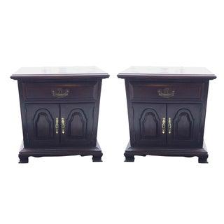 Kling Colonial Mahogany Wood Nightstands - A Pair