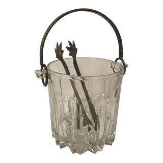 Crystal & Silverplate Ice Bucket & Tongs - A Pair