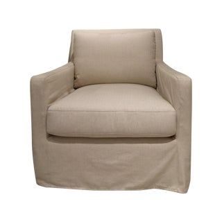 Bernhardt Transitional Slip-Covered Lounge Chair