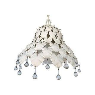 1950s Iron & Crystal Leaf Pendant Light