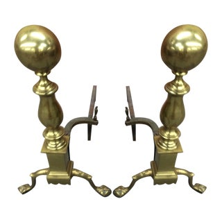 Andirons - Brass Claw Footed Andirons - a Pair