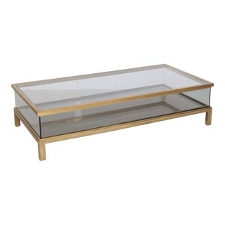 Spectacular Huge Brass Sliding Top Coffee Table by Maison Jansen