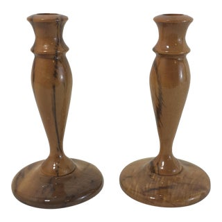 Vintage Myrtle Wood Candlesticks - A Pair