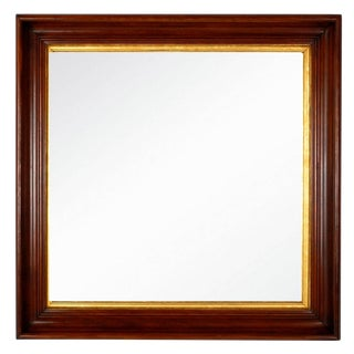Antique Square Walnut Shadow Box Mirror
