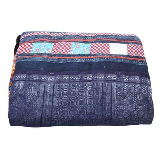 Blue, Black & Orange Hmong Blanket