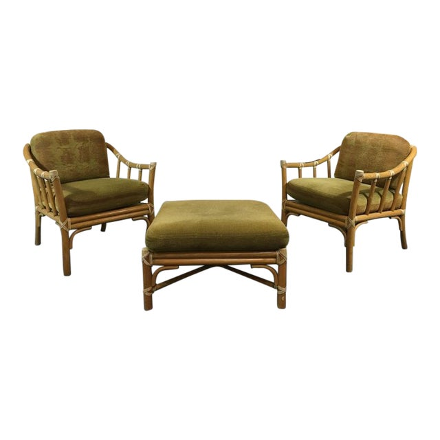 Vintage Bamboo Armchairs & Ottoman - Set of 3 - Image 1 of 9