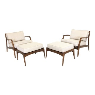 Kofod Larsen Lounge Chairs With Ottomans - Pair