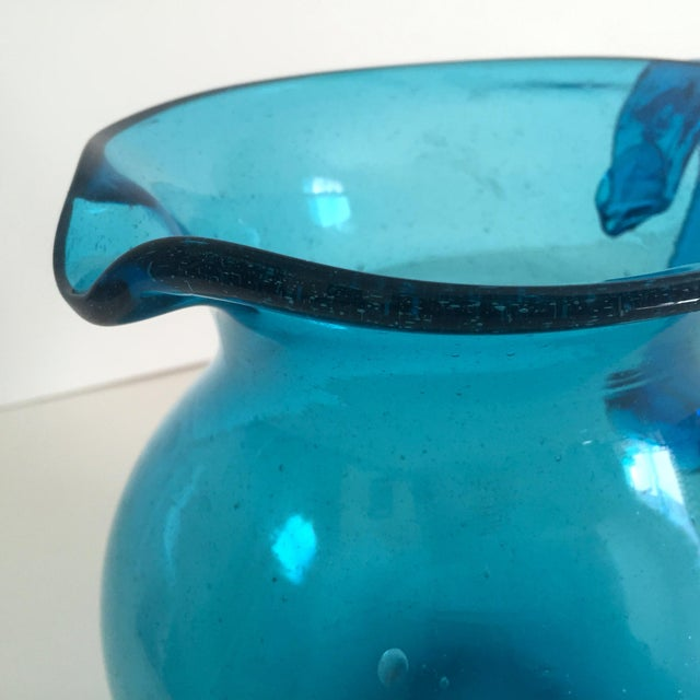 Mid-Century Blue Blenko Glass Pitcher - Image 8 of 11