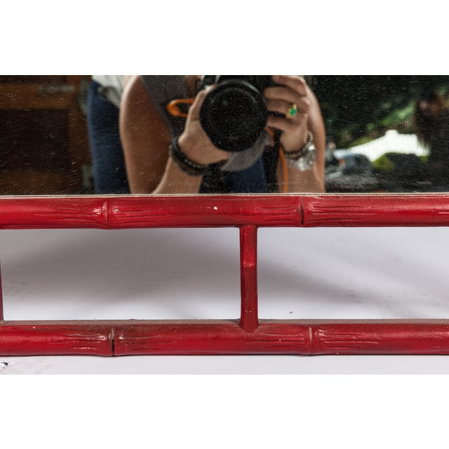 Red Faux Bamboo Mirror - Image 3 of 4