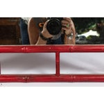 Image of Red Faux Bamboo Mirror