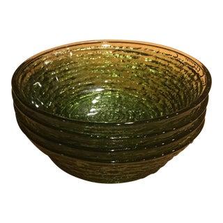 Vintage Libbey Rock Sharpe Olive Green Bowls - Set of 5