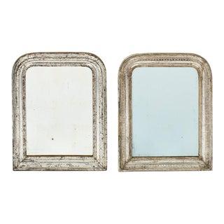 Antique Louis Philippe Silver Leaf Mirrors - A Pair