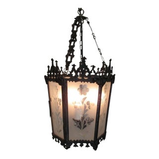 Mid-19th Century New Orleans Gothic Ebonized Brass Lantern