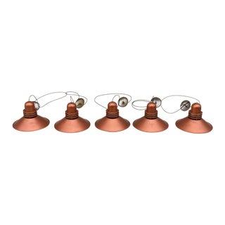 Vintage Modern Copper Pendants - Set of 5