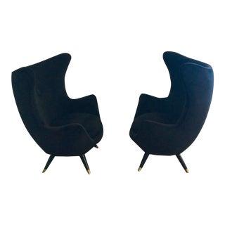 C 1960's Mid Century Italian Velvet Egg Chairs - A Pair