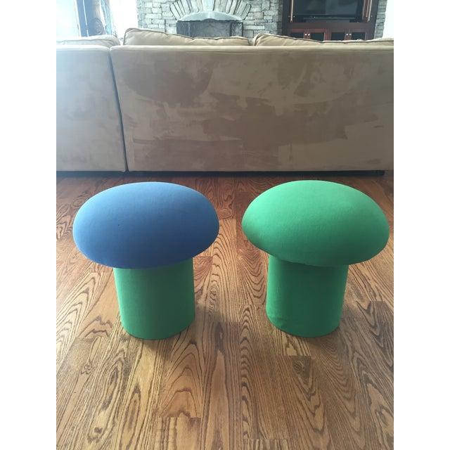 Memphis Style Mushroom Ottomans Stools - a Pair - Image 4 of 9