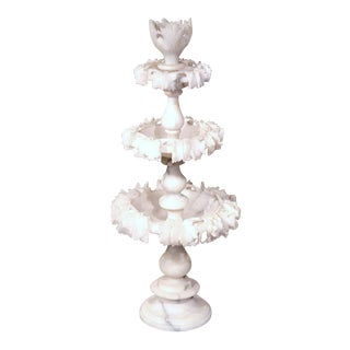 19th Century French 3-Tier Carved Alabaster Display Center Piece
