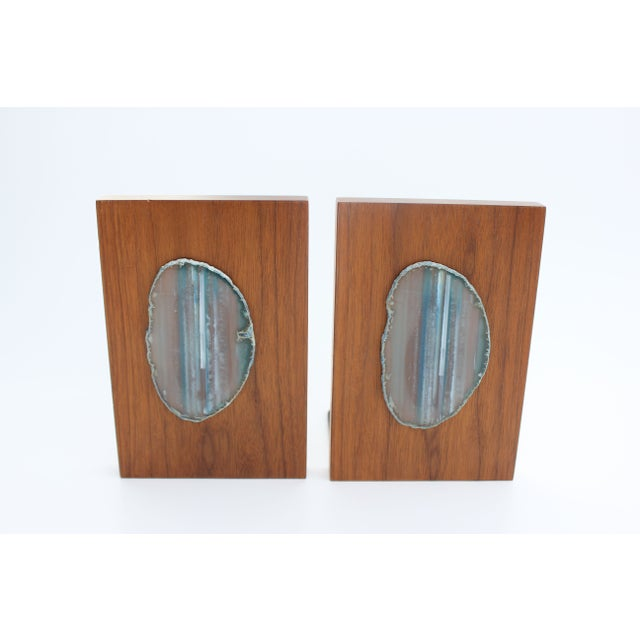 Agate Slice and Wood Bookends - Image 3 of 8