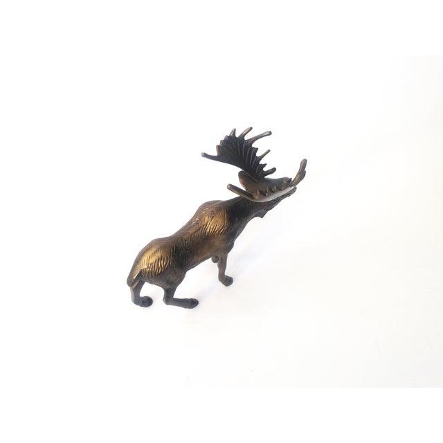 Vintage Brass Moose Statue - Image 4 of 5