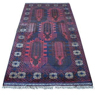 Vintage Navy & Red Persian Rug - 3′7″ × 6′5″