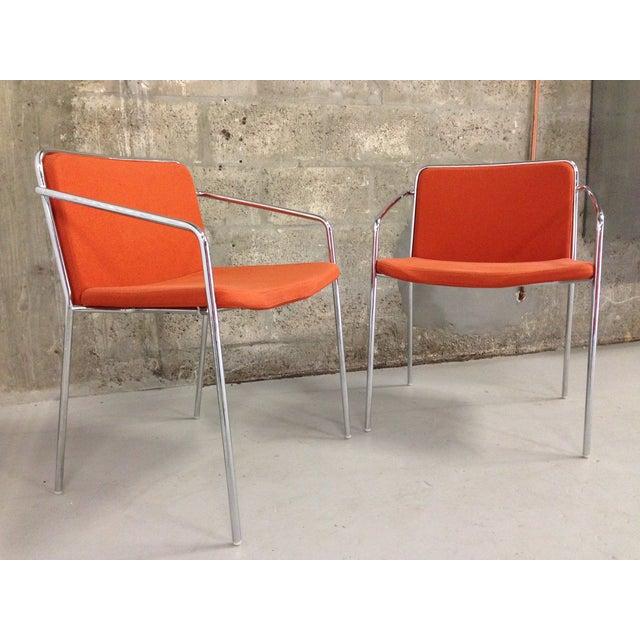 Image of Vintage Modern Chrome & Orange Chairs - A Pair