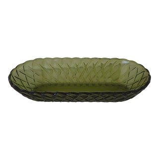 Mid-Century Green Glass Celery Dish