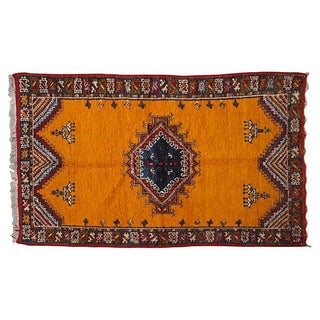 Vintage Orange Moroccan Rug - 6'4'' X 3'6''