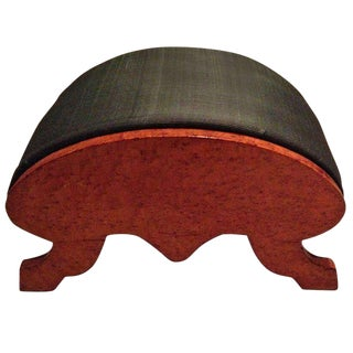 19th Century Biedermeier Burr Walnut Footstool Upholstered in Horsehair