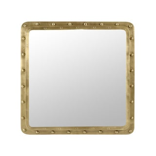 Industrial Brass Rivet Square Mirror