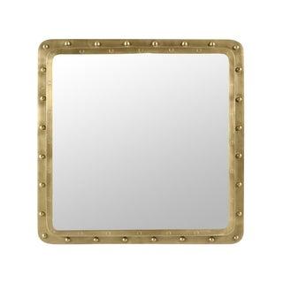 Industrial Brass Rivet Square Mirror
