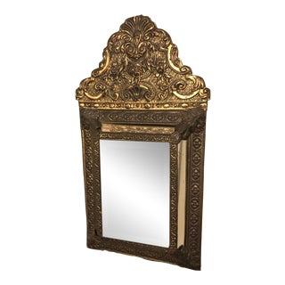 Antique 1860s Continental Repousse Brass Cushion Mirror