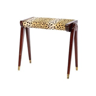 Mid-Century Modern Parisi-Style Faux-Leopard Bench